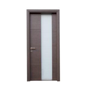 porta marrone scuro con vetro moderna
