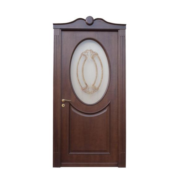 porta marrone scuro e vetro ovale